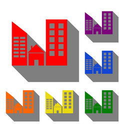 real estate sign set of red orange yellow vector image
