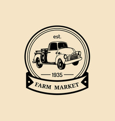 retro farm fresh logotype organic quality vector image