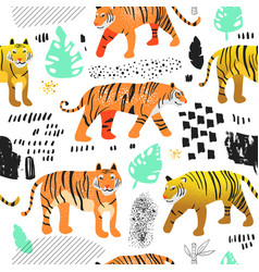 Seamless pattern cute tigers childish background vector