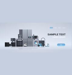 Set different home appliances kit electric house vector