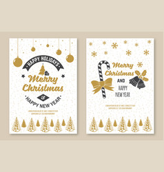 set merry christmas and 2020 happy new year vector image