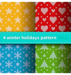 Set of 4 knitted patterns vector image