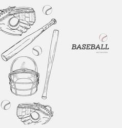 set of baseball hand draw sketch vector image