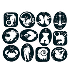 set of funny and scary signs of the zodiac vector image