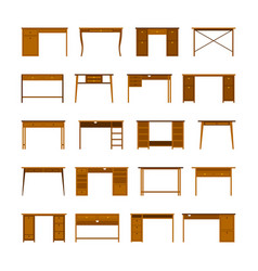 set of office tables and desks in flat style vector image