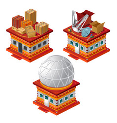set of stages of construction of the observatory vector image
