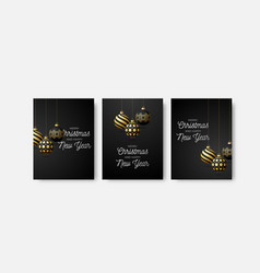 set three card merry christmas and happy new vector image
