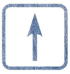 Sharp arrow up fabric textured icon vector