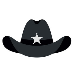 Silhouette sheriff hat icon isolated object vector