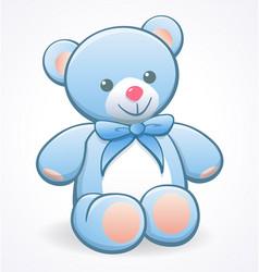 Simple cute pale blue cuddly teddy bear vector