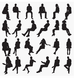 sitting silhouettes vector image
