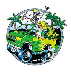 Skeleton with jamb and blondie girl driving van vector