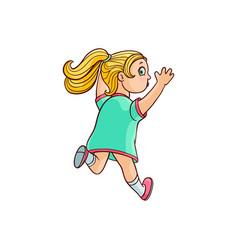 sketch running girl ranaway kid vector image