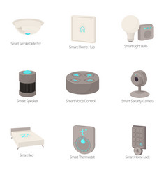 Smart device icons set cartoon style vector