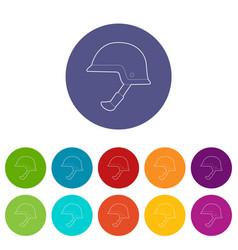 Soldier helmet icons set color vector