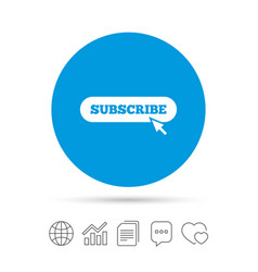 Subscribe with cursor pointer icon membership vector