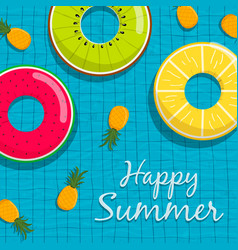 summer pool party card life saver and pineapple vector image