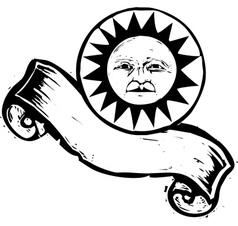 Sun Face Banner B vector