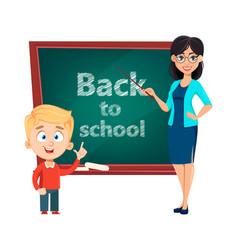 Teacher woman cartoon character and cute schoolboy vector