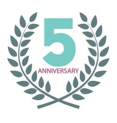 Template Logo 5 Anniversary in Laurel Wreath vector