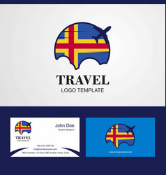 Travel aland flag logo and visiting card design vector