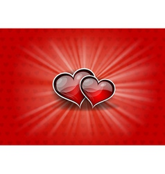 two hearts on the red background vector image