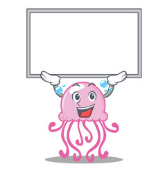up board cute jellyfish character cartoon vector image