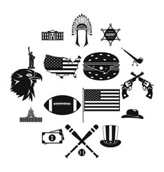 usa icons set simple style vector image