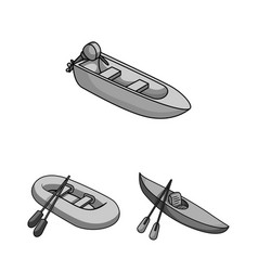 water and sea transport monochrome icons in set vector image