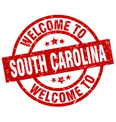 Welcome to south carolina red stamp vector