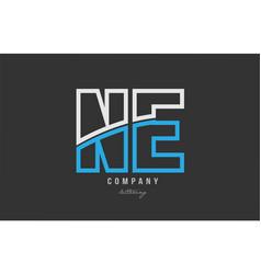 White blue alphabet letter ne n e logo icon design vector