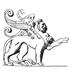 Winged lion is shown on tomb loys de vector