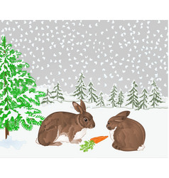 winter landscape forest with snow with rabbits vector image