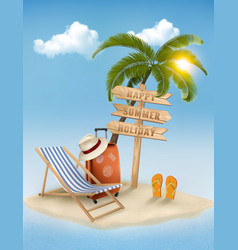 Beach with a palm tree a direction sign and a vector image vector image