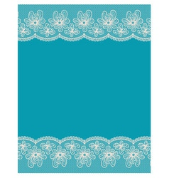 Blue background with two white lacy flower borders vector image vector image