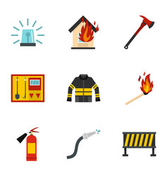 firefighter icons set flat style vector image