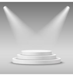 Illuminated round white stage podium vector image vector image