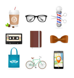 realistic hipster style icon color set vector image vector image
