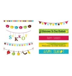 Colorful bunting and garlands for Jewish holiday vector image