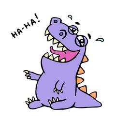 cute purple dragon funny laughs vector image vector image