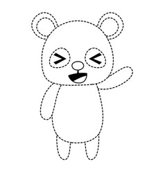 Dotted shape cute and cheerful panda wild animal vector
