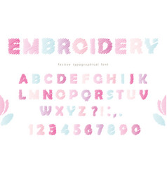 embroidery font design in pastel colors isolated vector image