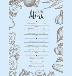 vegan restaurant menu identity typographic layout vector image vector image