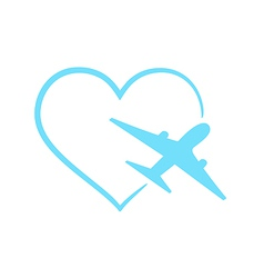 Airplane symbol in shape heart vector image vector image