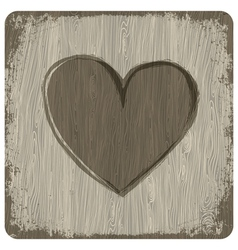 heart on wooden texture vector image vector image