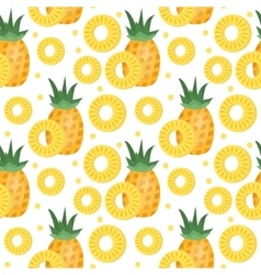 Pineapple seamless pattern ananas slices endless vector