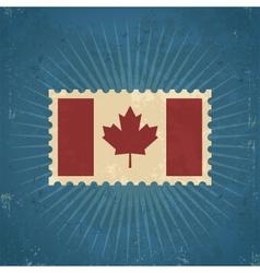 Retro canada flag postage stamp vector