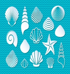 White sea shells icons vector image vector image