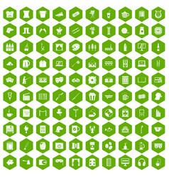 100 leisure icons hexagon green vector image vector image