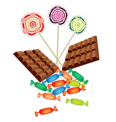 Chocolates Lollipops and Hard Candies vector image vector image